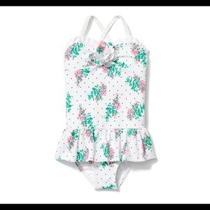 Janie and Jack Rosette Floral Swimsuit White 12